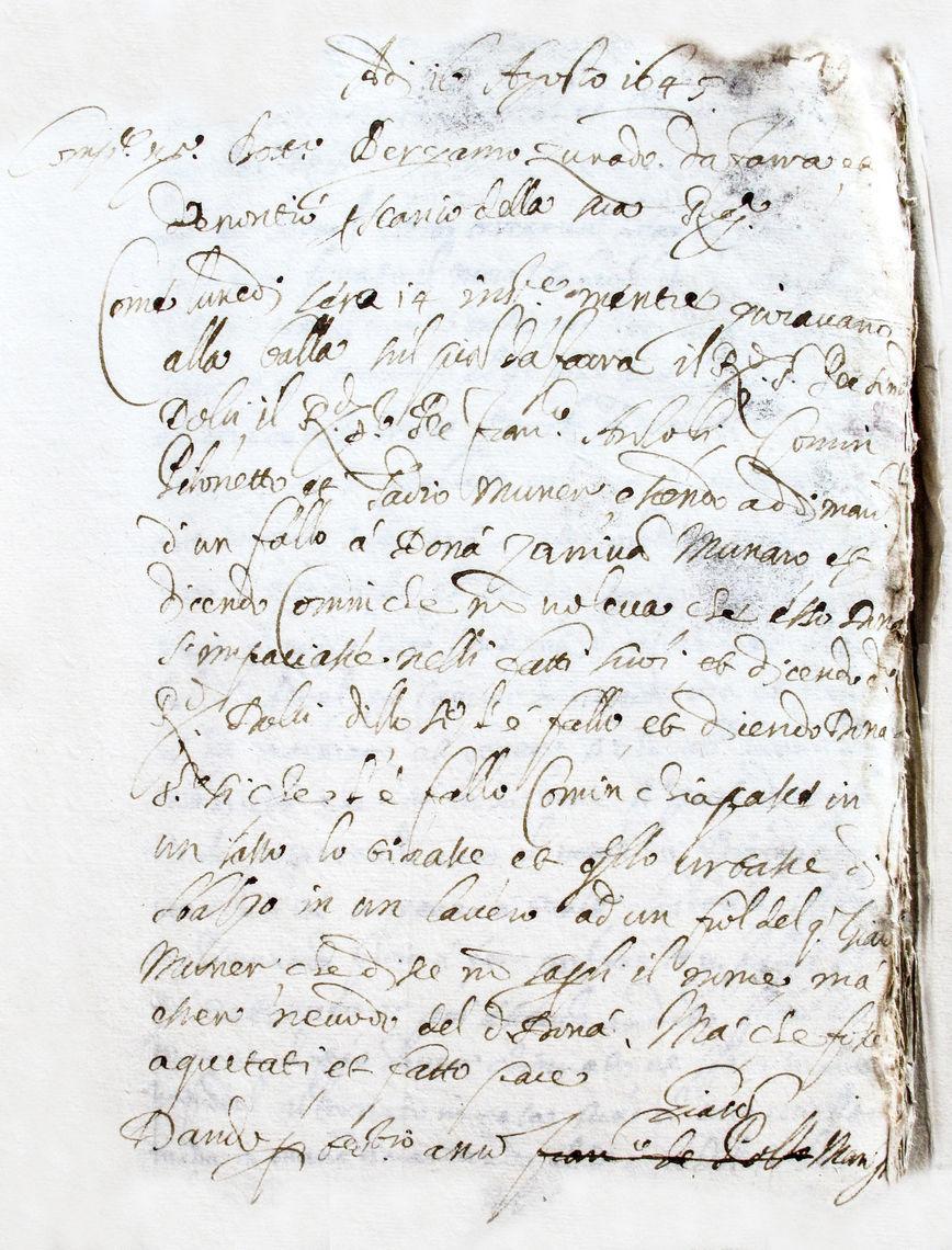 Documento storico originale archivio comunale di Mel 1645 cral farrese mel