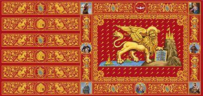 Bandiera Contarina, ridisegnata dall'illustratore Oliviero Murru -  sito web linguaveneta.net, disegno di Oliviero Murru