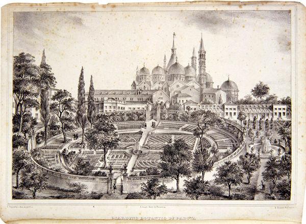 Veduta panoramica dell'Orto da una litografia di A. Tosini - Crediti: Orto Botanico