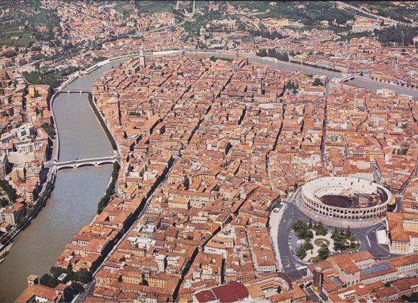 Veduta aerea del centro storico - Crediti: Comune di Verona