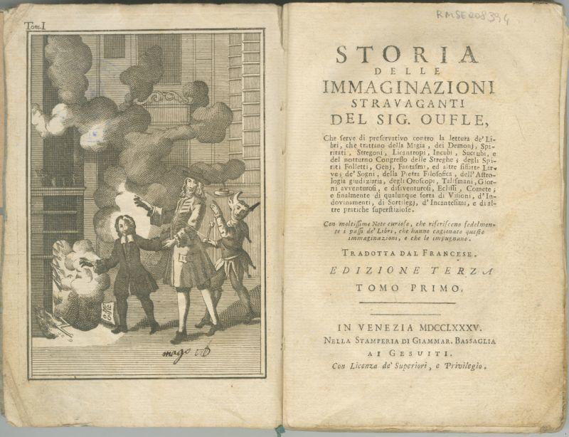istoria delle immaginazioni stravaganti del signor oufle r bel 127 frontespizio -  Biblioteca Bertoliana di Vicenza