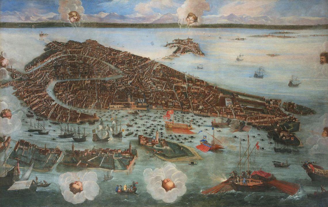 J. HEINTZ il Giovane, Veduta di Venezia a volo d'uccello -  Fondazione Musei Civici di Venezia - Archivio fotografico