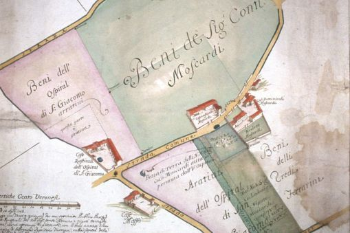 Mappa dei Beni Moscardi, dall'Archivio Miniscalchi Erizzo - Crediti: SIAR Veneto