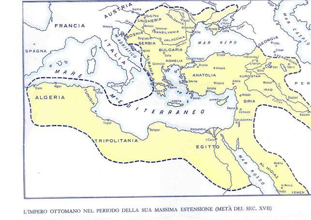 L'impero Ottomano nel periodo della sua massima estensione (sec. XVII)