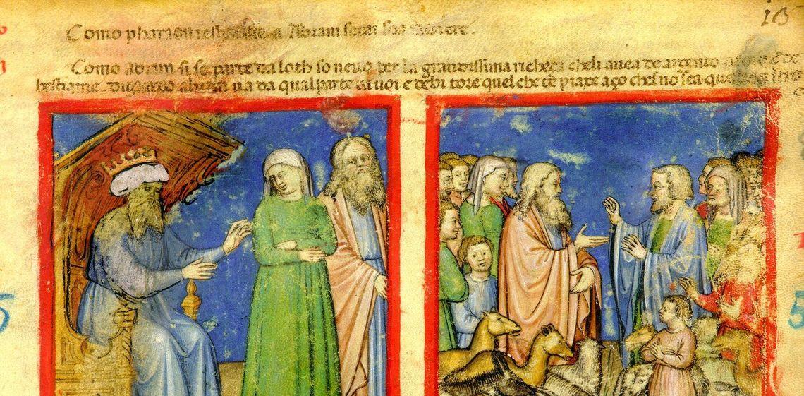 Il faraone restituisce Sara ad Abramo - Abramo si separa da Loth, Silvestriano 212, c. 8r, rit1 fig 1 055 058 -  Accademia dei Concordi - Rovigo