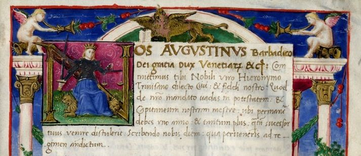Commissione del doge Agostino Barbarigo, rit1 ve0039 classe iii 0009 c 01r -  Biblioteca del Museo Correr