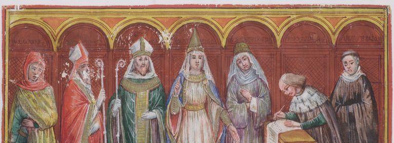Donazione di Beatrice e Matilde di Canossa a San Zeno nel 1073, rit 1 vr0058 miniature inv 6749 -  Biblioteca del Museo di Castelvecchio - Verona