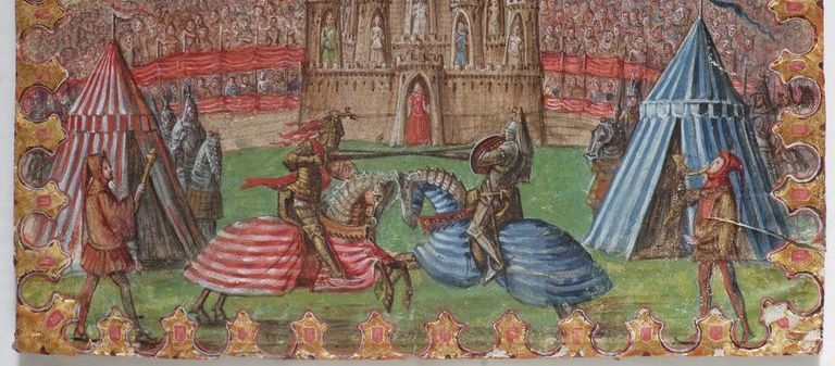 Lotta di cavalieri nell'arena di Verona,  rit1 vr0058 miniature inv 6846 -  Biblioteca del Museo di Castelvecchio - Verona